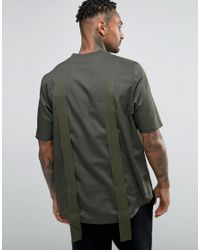 ASOS - Green Oversized Woven T-shirt With Side Splits And Strapping for Men - Lyst