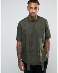 ASOS | Green Oversized Woven T-shirt With Side Splits And Strapping for Men | Lyst