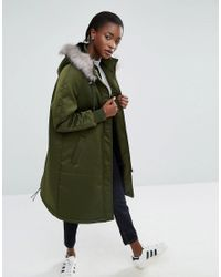 ASOS | Green Satin A-line Parka With Faux Fur Lined Hood | Lyst