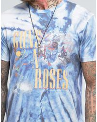 ASOS - Blue Guns N Roses Band T-shirt With Tie Dye Effect for Men - Lyst