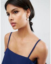 ASOS - Natural Pearl & Jewel Swing Earrings - Lyst