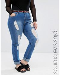 Boohoo | Blue Mid Wash Ripped Jean | Lyst