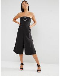 Lavish Alice - Black Bandeau Metal Ring Detail Culotte Jumpsuit - Lyst