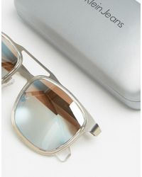 Calvin Klein - Multicolor Jeans Crystal Rectangular Aviator - Lyst
