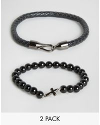 Simon Carter - Black Onyx Cross Beaded & Leather Bracelets In 2 Pack Exclusive To Asos for Men - Lyst