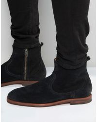 H by Hudson | Black Lancing Suede Zip Boots for Men | Lyst