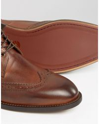 H by Hudson - Brown Men's Greenham Leather Brogue Lace Up Boots for Men - Lyst