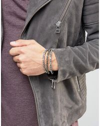ASOS - Multicolor Embellished Bangle Pack In Mixed Metal for Men - Lyst