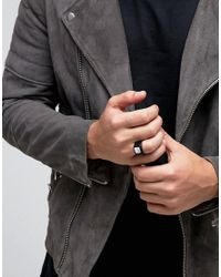 ASOS - Signet Ring In Black With Marble Look Stone for Men - Lyst