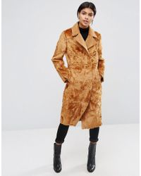 ASOS   Brown Longline Panelled Faux Fur Coat   Lyst