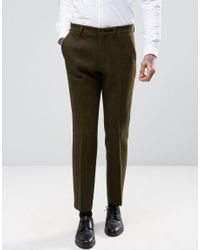 ASOS - Natural Slim Suit Pants In Khaki Harris Tweed 100% Wool With Real Leather Lapel for Men - Lyst