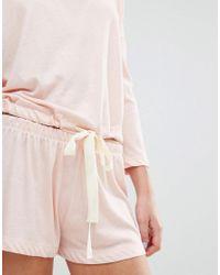 Chelsea Peers   Pink Soft Peachy Tie-waist Pj Short Set   Lyst