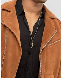 ASOS | Brown Feather Necklace In Burnished Gold for Men | Lyst