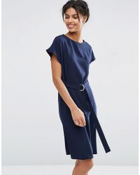 ASOS | Blue Belted Midi Dress With D-ring Belt | Lyst