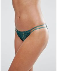 Wolf & Whistle - Deep Green Lace Tanga Side Brazilian Brief - Deep Green - Lyst
