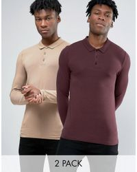 ASOS - Multicolor 2 Pack Extreme Muscle Long Sleeve Polo Save for Men - Lyst