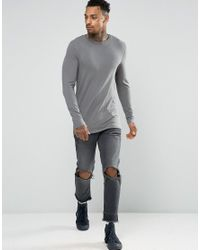 ASOS - Longline Muscle Long Sleeve T-shirt In Gray for Men - Lyst