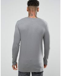 ASOS - Longline Muscle Long Sleeve T-shirt In Gray for Men - Lyst
