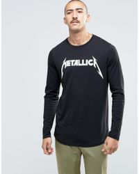 ASOS - Black Metallica Longline Long Sleeve T-shirt With Curved Hem for Men - Lyst