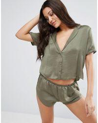 ASOS - Green Miley Satin Piped Pyjama Top & Short Set - Lyst