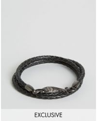 Simon Carter | Black Plaited Leather Wing Bracelet Exclusive To Asos for Men | Lyst