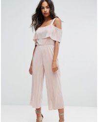 Warehouse | Pink Foil Plisse Frill Jumpsuit | Lyst