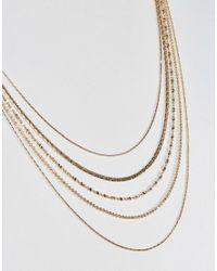 Nylon - Metallic 4 Layered Necklace - Lyst