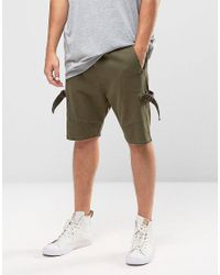 ASOS | Green Drop Crotch Shorts With D Rings In Khaki for Men | Lyst