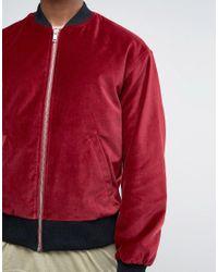ASOS - Red Velvet Bomber With Ruching Detail In Burgundy for Men - Lyst