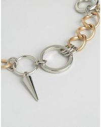 ASOS - Metallic Spike & Circle Link Necklace - Lyst