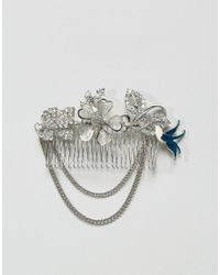 ASOS - Metallic Embellished Jewel & Chain Hair Clip - Lyst