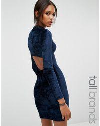Noisy May Tall | Blue Open Back Velvet Bodycon Dress | Lyst