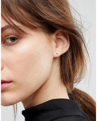 ASOS - Metallic Rose Gold Plated Sterling Silver Solid Semi Circle Stud Earrings - Lyst
