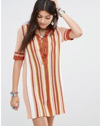Free People | Multicolor Knit Dress With Lace Up Front | Lyst