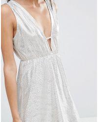 Twin Sister - Metallic Mini Dress With Front Bar - Lyst