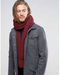 DIESEL - Red Knitted Cable Scarf for Men - Lyst