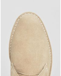 New Look - Natural Leather Desert Boot In Stone for Men - Lyst