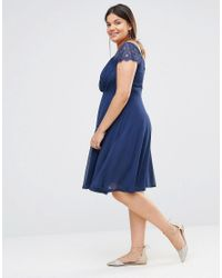 Boohoo - Blue Eyelash Sleeve Chiffon Midi Skater Dress - Lyst