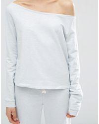 ASOS - Blue Lounge Jersey Off The Shoulder Sweatshirt - Lyst