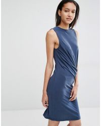 Just Female | Blue Carey Bodycon Dress With Drape | Lyst