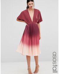 e0669ed3be8 ASOS Ombre Pleated Kaftan Midi Dress in Pink - Lyst