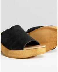 New Look - Black Wood Heel Mule - Lyst