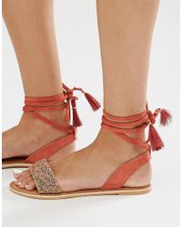 New Look - Red Beaded Ankle Tie Flat Sandal - Lyst