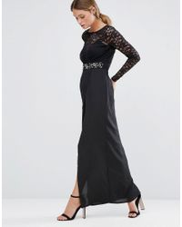 Elise Ryan | Black Embellished Lace Maxi Dress With Thigh Split | Lyst