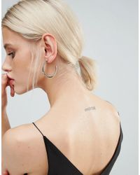 Pieces - Metallic Silver Galina Creol Hoop Earrings - Lyst