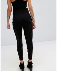 ASOS - Jersey Peg Pants With Shirred Waist - Black - Lyst