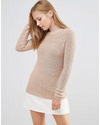 Vila - Brown High Neck Knit Jumper In Tan - Lyst