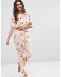 ASOS - Pink Frog Print Woven Tee & Long Leg Pajama Set - Lyst