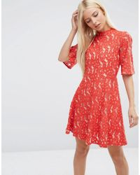 ASOS | Kimono Sleeve Mini Skater Dress In Red Lace | Lyst