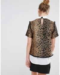 Sister Jane - Metallic Ister Jane Double Layer Top With Tie Neck In Heart Leopard Print - Lyst